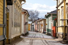 Wooden houses. Of the historic city of Rauma, Finland Stock Photos