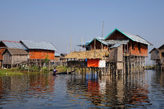 Wooden houses in Inlay lake, Myanmar Royalty Free Stock Images