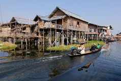 Wooden houses in Inlay lake, Myanmar Stock Images