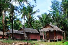 Wooden houses at the jungle between coconut palm trees. Koh Chang, Thailand Stock Photo