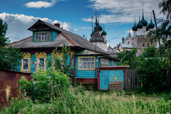 Wooden houses and Kremlin in Rostov the Great town in Russia. Stock Image
