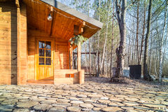 Wooden houses for leisure travelers in the forest. Royalty Free Stock Image