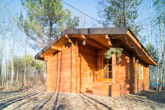 Wooden houses for leisure travelers in the forest. Stock Image