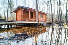 Wooden houses for leisure travelers in the  forest. Royalty Free Stock Photos