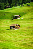 Wooden houses in Malbun in Lichtenstein, Europe.  Royalty Free Stock Image