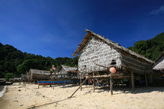 Wooden houses in Morgan, sea Gypsy, village Stock Images