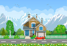 Wooden houses in the mountains Stock Photo