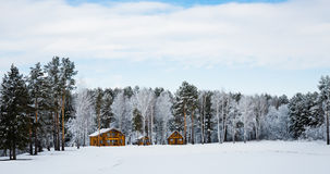 Wooden houses in a nature area covered with snow. Stock Photography
