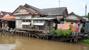 Wooden houses near Chao Phraya river Royalty Free Stock Image