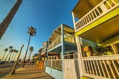 Wooden houses in Newport Beach seafront. Los Angeles, California Stock Photos