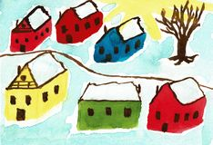 Wooden Houses in Norway in Winter Time. This is a hand drawn water color painting. The painting shows six wooden colored houses in Norway in the winter time. The Royalty Free Stock Photos