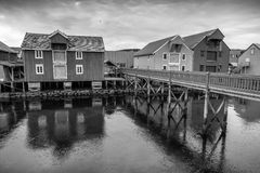 Wooden houses in Norwegian fishing village. Rorvik, Royalty Free Stock Image