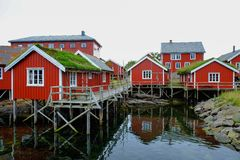 Wooden houses  in norwegian village Stock Photography