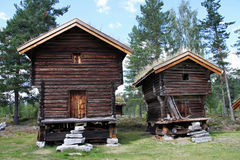 Wooden houses now serve more as skanzen Norway Royalty Free Stock Images
