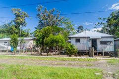 Small houses in Nuevo Rocafuerte. Wooden houses in Nuevo Rocafuerte village, Ecuador stock photography