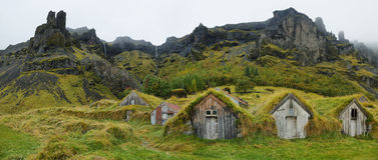 Wooden houses of Nupstadur Stock Photo