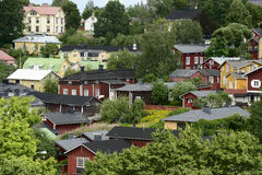 Wooden houses in the old district of Porvoo, Finland Stock Photography
