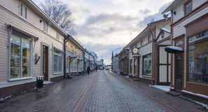 Wooden houses in old Rauma Finland. A street of the old center of Rauma with its typical wooden houses which belong to Unesco heritage Stock Image