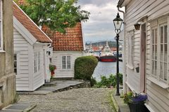 Wooden houses in Old Stavanger, Norway. Royalty Free Stock Photo