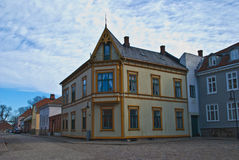 Wooden houses in the old town of Fredrikstad Royalty Free Stock Photography