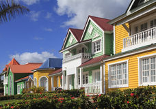 The wooden houses painted in Caribbean bright colors in Samana Stock Photos
