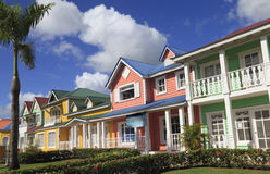 The wooden houses painted in Caribbean bright colors in Samana, Dominican Republic Stock Photos