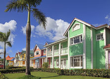 The wooden houses painted in Caribbean bright colors Royalty Free Stock Images