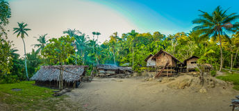 Wooden houses in Papua. Photo of simple wooden houses surrounded by palms in Will-will in Nuku, Papua New Guinea. In this region, one can only meet people from royalty free stock image