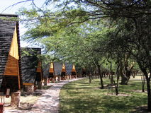 the wooden houses in Kenyas Masai Mara National Reserve Stock Photos