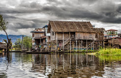 Wooden houses on piles, Inle Lake, Myanmar Royalty Free Stock Photo