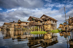 Wooden houses on piles, Inle Lake, Myanmar Royalty Free Stock Image