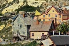 Wooden houses, Popeye village Mellieha, Malta Royalty Free Stock Images