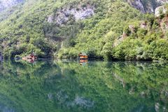 Wooden houses on river Drina landscape summer. Season stock photography