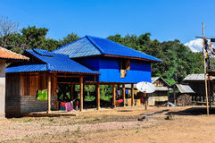 Wooden houses in a small community near Muang Sing, Laos Royalty Free Stock Photography