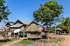 Wooden houses in a small community near Muang Sing, Laos Royalty Free Stock Images