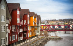 Wooden houses in small Norwegian town Royalty Free Stock Photos