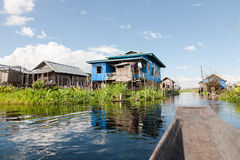 Wooden houses on stilts, Maing Thauk, Inle Lake Stock Image