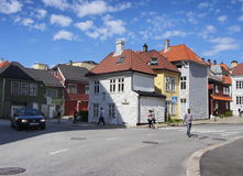 Wooden houses on the streets of Bergen Stock Photo