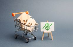 Wooden houses in a trading cart and green arrow up. Increasing the cost and liquidity of real estate. Attractive investing. rising. Prices or renting. The boom royalty free stock image