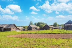 Wooden houses in the village. Blue sky with clouds. Field with green grass. Arable land. Summer Royalty Free Stock Photo