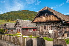 Wooden Houses in Village Cicmany Stock Photos