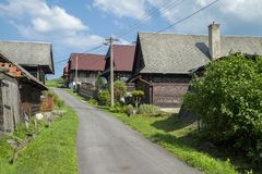 Houses in the Village Cicmany - Slovakia. Royalty Free Stock Photography