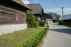 Houses in the Village Cicmany - Slovakia. Stock Images