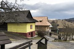Wooden houses in Vlkolinec village, Slovak republic stock photo