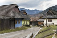 Wooden houses in Vlkolinec village, Slovak republic Royalty Free Stock Images
