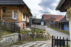 Wooden houses in Vlkolinec village, Slovak republic. Unesco. Cultural heritage. Travel destination. Folk architecture royalty free stock photography