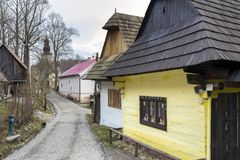 Wooden houses in Vlkolinec village, Slovak republic. Unesco. Cultural heritage. Travel destination. Folk architecture royalty free stock photos