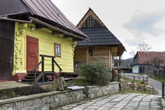 Wooden houses in Vlkolinec village, Slovak republic. Unesco. Cultural heritage. Travel destination. Folk architecture stock photography