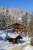 Wooden Houses in Winter Stock Image