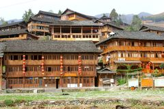 Timber houses of Red Yao hilltribes in Dazhai, Longsheng,China Stock Photo